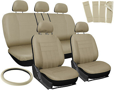 SUV Seat Cover for Toyota Highlander Solid Beige w/Steering Wheel/Belt/Head Rest