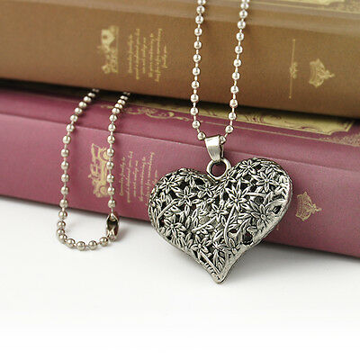 Elegant Women Heart Flower Chain Pendant Carved Silver Tone Vintage Necklace