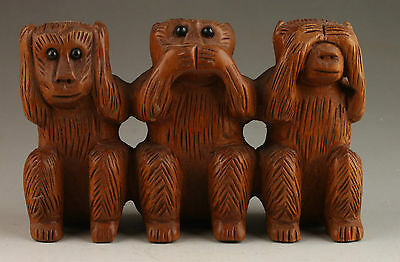 Vintage Collection PreciousHandmade Wood Carving Statues Vivid Lovely Monkeys