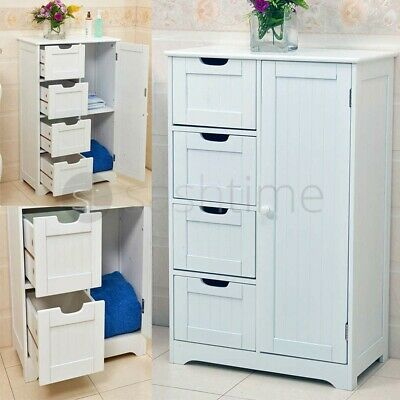 New White Wooden Cabinet With 4 Drawers & Cupboard Storage Bathroom Or Bedroom