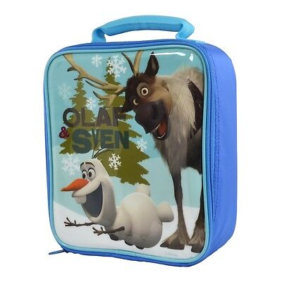 Frozen Lunch Bag Olaf & Sven Blue Disney Themed Childs Packed Lunch Bags New
