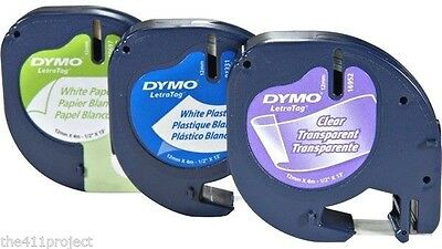 3PK Dymo Letra Tag Variety Pack Refill Tapes LetraTag LT-100 & QX50 Label Makers