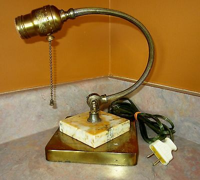 Antique/Vtg Curved Brass Marble Table Desk Piano Lamp VGC !!!