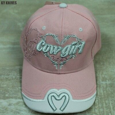 "PINK ""Cowgirl Babe"" Hat Embroidered Horseshoe Women Girls Baseball Cap #69 zix"