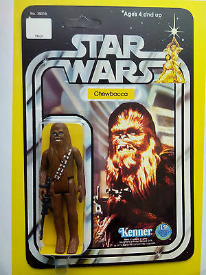 VINTAGE 1977 CHEWBACCA  MADE BY KENNER TOYS ON HIS STAR WARS 12 BACK CARDBACK