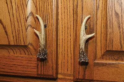"""1 Pack - 3"""" Right & Left Antler Drawer Cabinet Handle Pull Hunting Cabin Decor"""