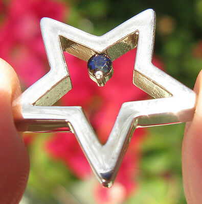 Sterling Silver Faceted GENUINE SAPPHIRE Gemstone Star Pendant STAMPED 925 GIFT
