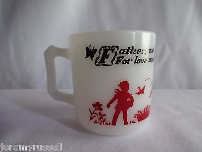 Hazel Atlas Father We Thank Thee Prayer Childs Milk Glass Mug Cup Mint Condition