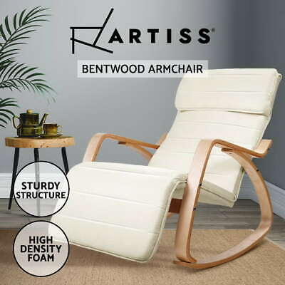 Bentwood Rocking Arm Chair Wooden Adjustable Lounge Fabric Recliner Beige