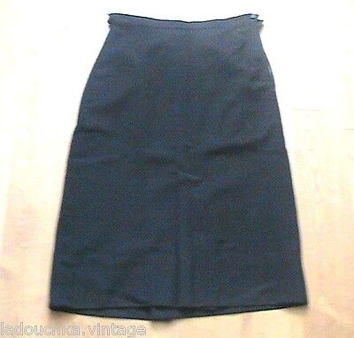 FRENCH WW2 1940s WOMAN BLACK WOOL GABARDINE SKIRT- MADE IN FRANCE -PERFECT- W:26