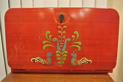 Vintage Beauty Box Hand Painted Red Bread Box