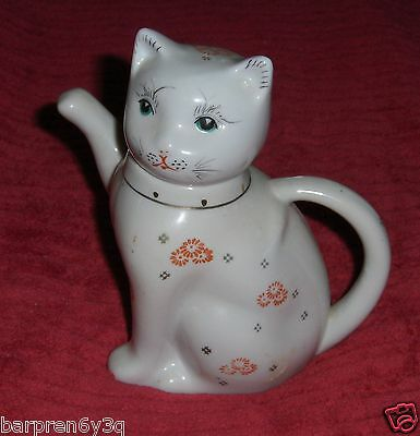 Vtg Albert Price Floral Kitty Cat Figurine Ceramic Art Pottery Kitten Tea Pot