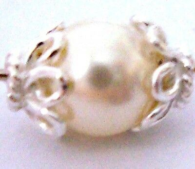 20 BALI 925 bright Sterling SILVER flower small BeadCap Bead CAPS 6mm C09