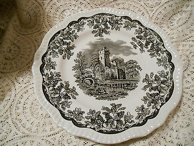 """(1) The Spode Archive  Collection-Georgian Series-'Ruins' (Black)10 1/2""""Plate"""