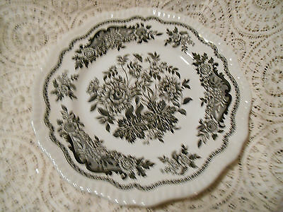 """(1)The Spode Archive Collection-Regency  Series-'Jasmine ' (Black)10 1/2""""Plate"""