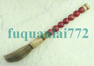CHINESE Carve Red Jade Ball Design Scholar Calligraphy Art Brush Pen 11.5in