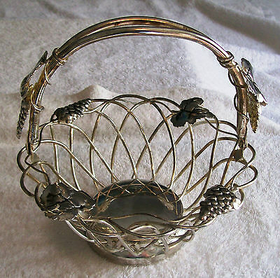 GODINGER SILVER PLATED BASKET , WITH GRAPES AND LEAVES DESIGN, HANDLE FOLDS DOWN