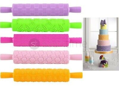 New Embossed Fondant Cake Rolling Pin Embossing Sugarcraft Decorating Gum Pastry