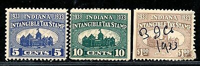 DR JIM STAMPS OLD US INDIANA STATE REVENUE INTANGIBLE TAX LOT 1933 NO RESERVE