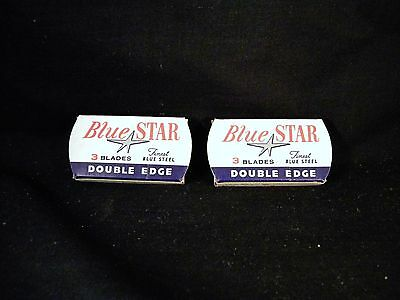 Lot 2 New Vintage Boxes Blue Star Double Edge Safety Razor Blades Total of 6 NOS