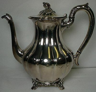 ONEIDA Silver MELON PLAIN Holloware COFFEE POT with LID silverplate SHORT FEET