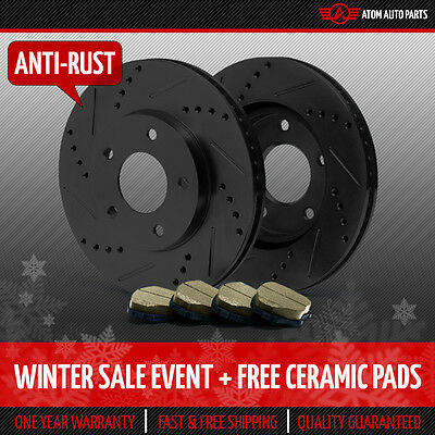 (FRONT KIT) (BLACK ZINC) Slotted & Drilled Rotors AND Ceramic Brake Pads