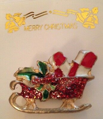 Christmas Pin Sleigh with Presents Sparkle Red Green Goldtone 1 1/4 x 3/4 inch