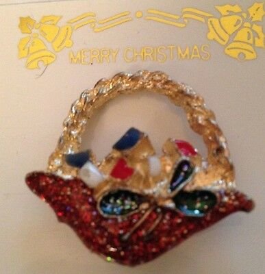 Christmas Pin Basket with Presents Sparkle Red Green Goldtone 1 1/4 x 1 inch