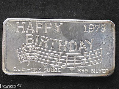 1973 Happy Birthday Silver Art Bar GLM-2 Great Lakes Mint P1099