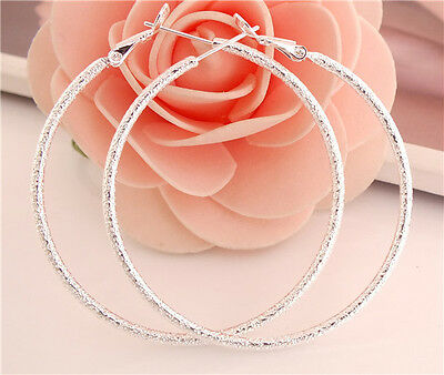 New! Fashion 1pair Sterling Silver New Style Charming Lady's Hoop Earrings