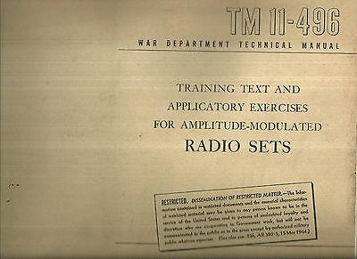 TM 11-496 War Department Technical Manual Amplitude-Modulated Radio Sets WWII