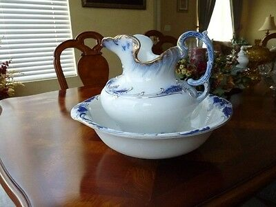 Vintage 1897 Flo BLUE PITCHER LARGE WASH BOWL BASIN SET