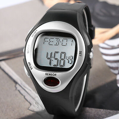 Sport Calorie Burn Counter Pulse Heart Rate Monitor Leatheroid Band Wrist Watch