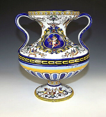 Antique Gien French Faience - Neo-Classical Footed Vase - Unusual!