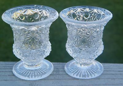 2 OLD ANTIQUE VINTAGE FOOTED 1880 EAPG BUTTON DAISY GLASS MATCH TOOTHPICK HOLDER