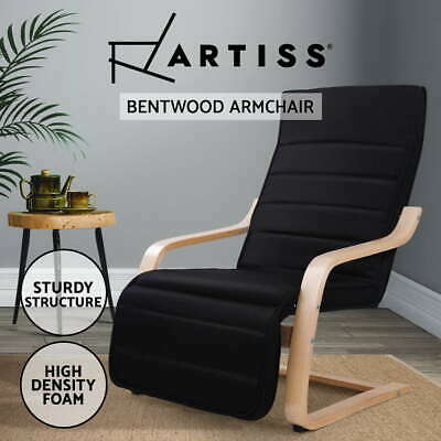 Bentwood Arm Chair Adjustable Wooden Recliner Lounge Fabric Cushion Black