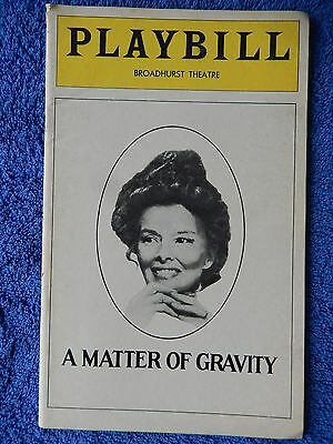 A Matter Of Gravity - Broadhurst Theatre Playbill - April 1976 - Hepburn