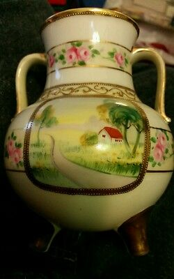 Pre 1900 NORITAKE NIPPON Hand Painted  with Gold Trim Vase