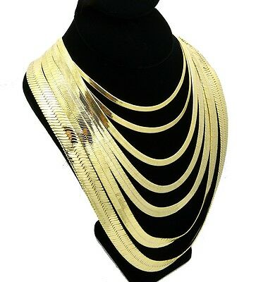 """Mens Herringbone Chain 14k Gold Plated 4mm to14mm wide 18"""" 20"""" 24"""" 30"""" Necklace"""