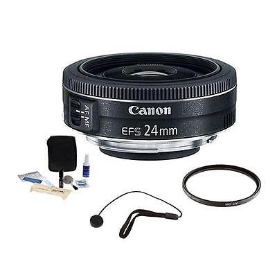 Canon EF-S 24mm f/2.8 STM Wide Angle Lens Bundle. USA Warranty. Value Kit #9522B