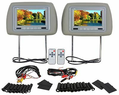 "Pair Of TView T721PL Universal 7"" Gray Car Video Headrest TFT LCD Monitors"