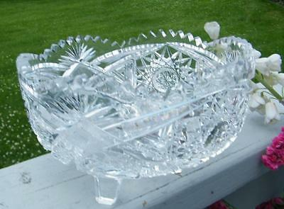 "ANTIQUE ABP AMERICAN BRILLIANT VINTAGE CUT GLASS 8 1/4"" FOOTED SERVING DEEP BOWL"