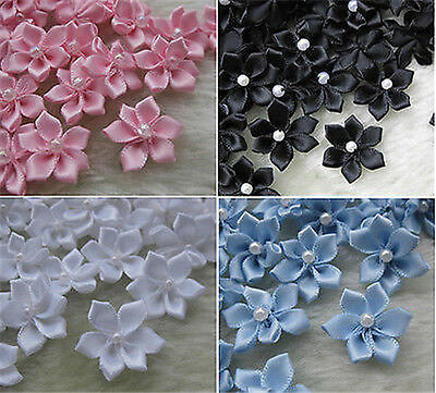 40pcs satin ribbon flowers W/pearl Appliques Craft DIY Wedding A783M
