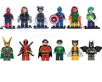 Lot of 12 MiniFigures Super Heroes Series Building Toys Wolverine Batman Robin
