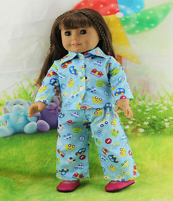 """*New clothes Print outfit Top pants for 18"""" American Girl Doll girl present b71"""