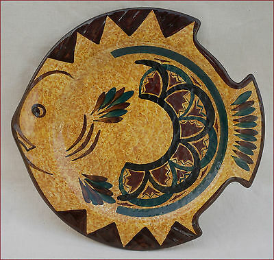 Vintage Fish Shaped Plate French Faience St Jean Quimper 1950