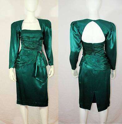 Vtg 80s Emerald Satin Sashed Rhinestone Open Back Cocktail Party Holiday Dress M