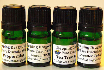 AROMATHERAPY GIFT SET, 4 Pure Essential Oils, Lemon Lavender Peppermint Tea Tree