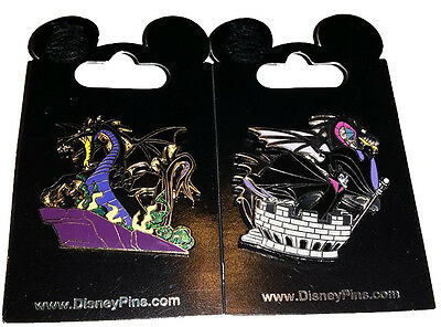 Disney Parks Maleficent 2 Pin Lot Dragon - NEW
