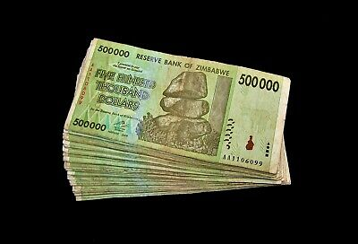 50 x Zimbabwe 500 Thousand(500000) Dollar banknotes-paper money currency